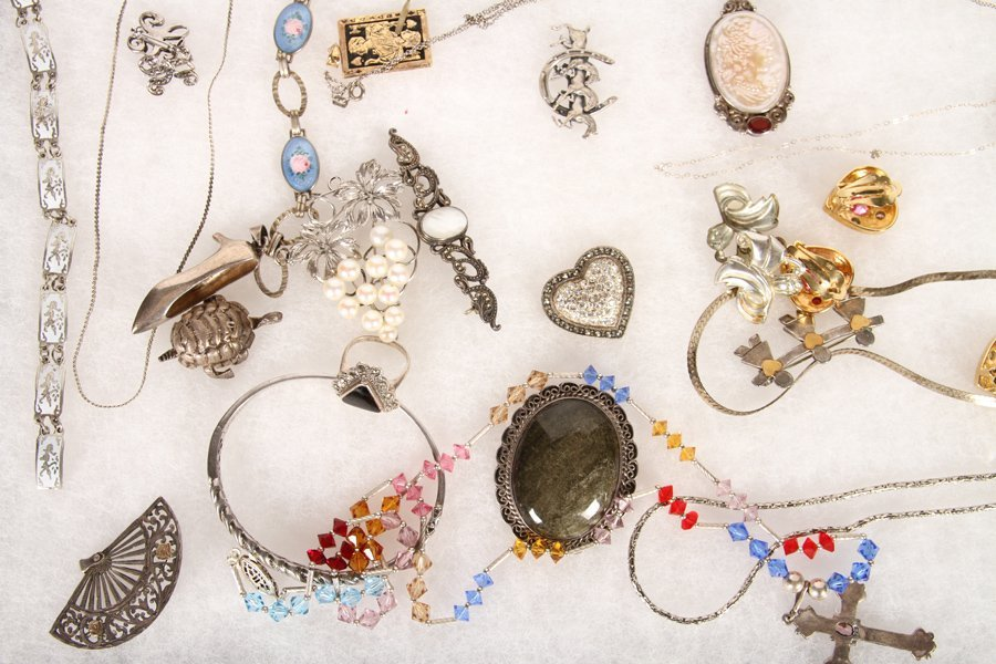 50 PC LOT JEWELRY ITEMS STERLING SILVER C.1940 - 4