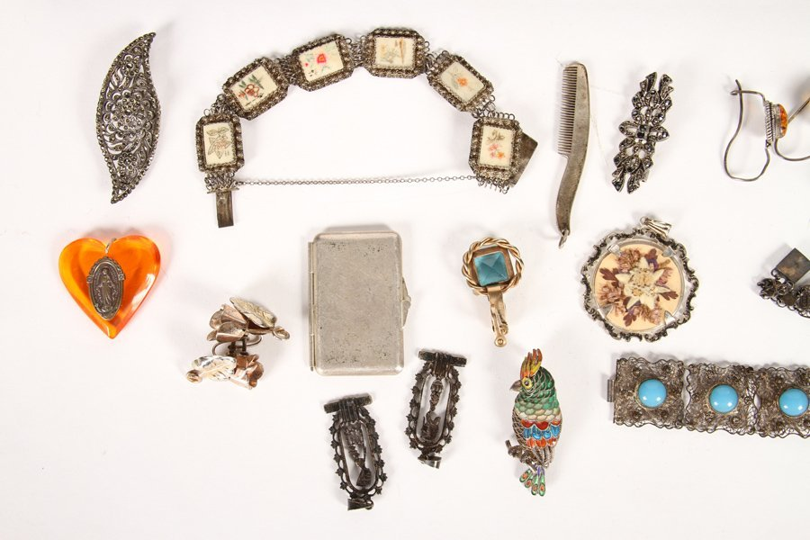 50 PC LOT JEWELRY ITEMS STERLING SILVER C.1940 - 5
