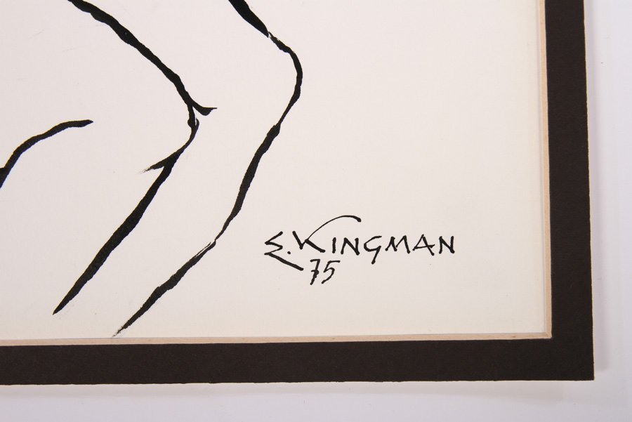 EDUARDO KINGMAN INK ON PAPER SIGNED DATED 1975 - 4