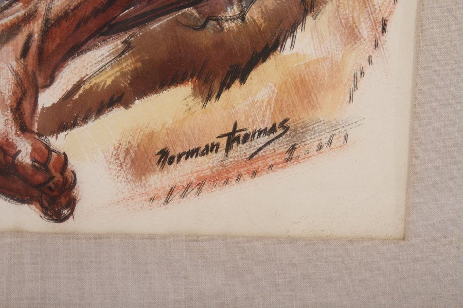 NORMAN THOMAS AMERICAN TEMPERA ON PAPER SIGNED - 3