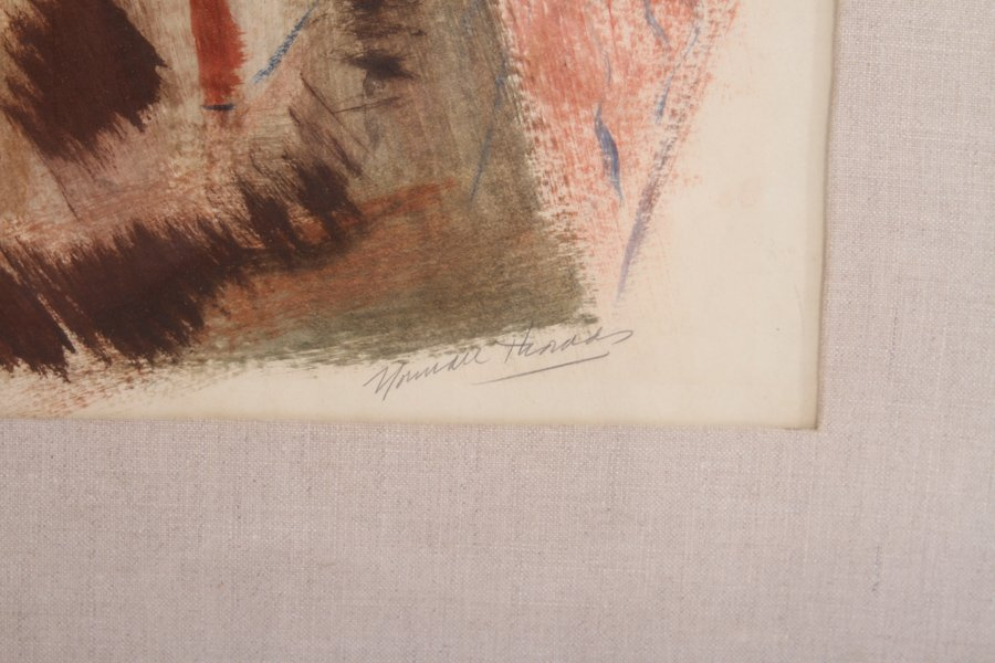 NORMAN THOMAS AMERICAN TEMPERA ON PAPER SIGNED - 5