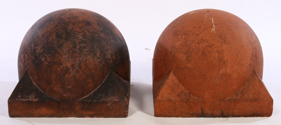 PAIR LATE 19TH CENT TERRACOTTA 1/2 SPHERE FINIALS