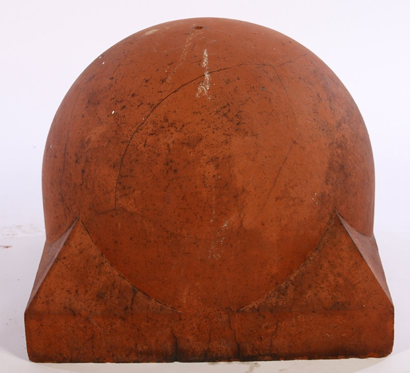PAIR LATE 19TH CENT TERRACOTTA 1/2 SPHERE FINIALS - 2