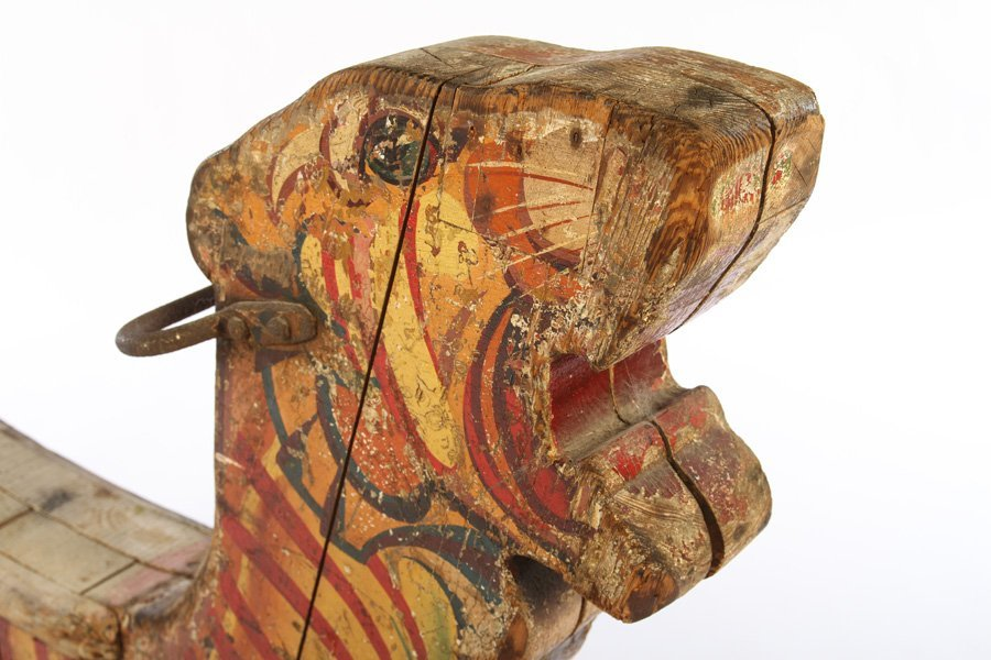 CARVED PAINTED CAROUSEL AMUSEMENT CARVING TIGER - 2