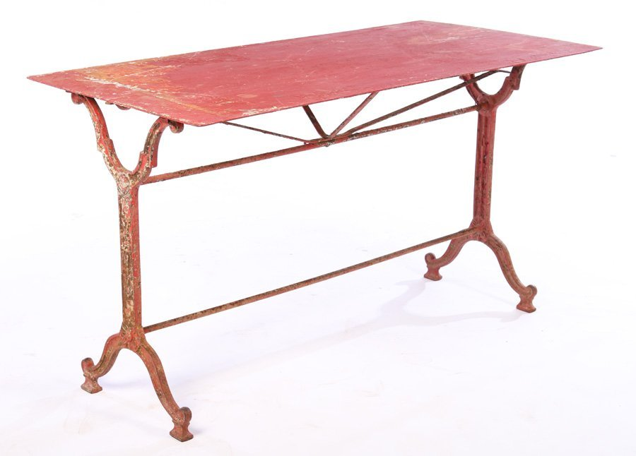 FRENCH CAST IRON GARDEN TABLE RED IRON TOP 1910