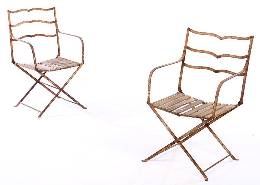 PAIR FRENCH CAMPAIGN WROUGHT IRON FOLDING CHAIRS