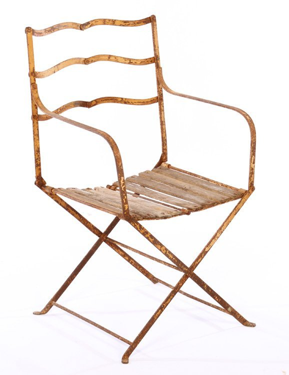 PAIR FRENCH CAMPAIGN WROUGHT IRON FOLDING CHAIRS - 2