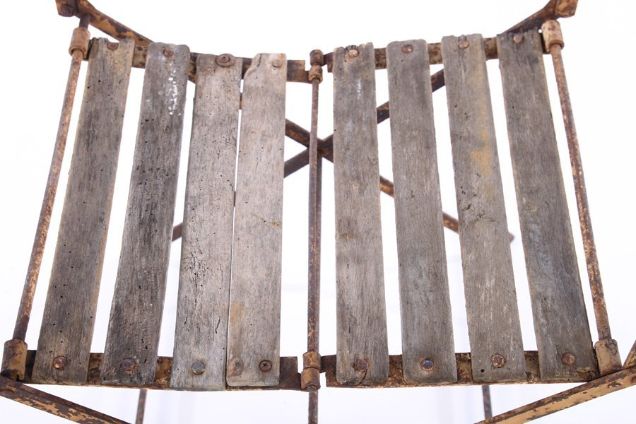 PAIR FRENCH CAMPAIGN WROUGHT IRON FOLDING CHAIRS - 5