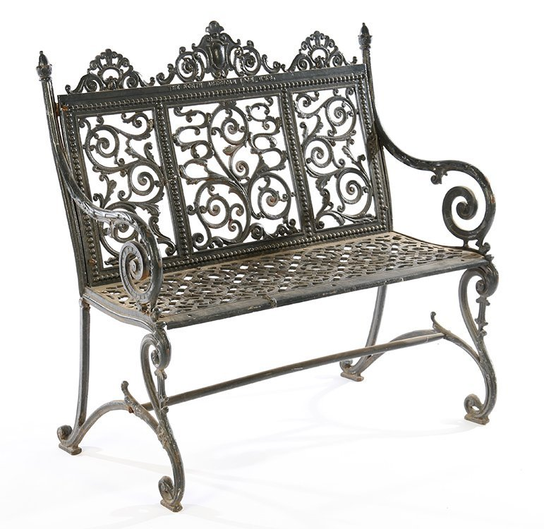 19TH CENT. AMERICAN CAST IRON BENCH LABELED