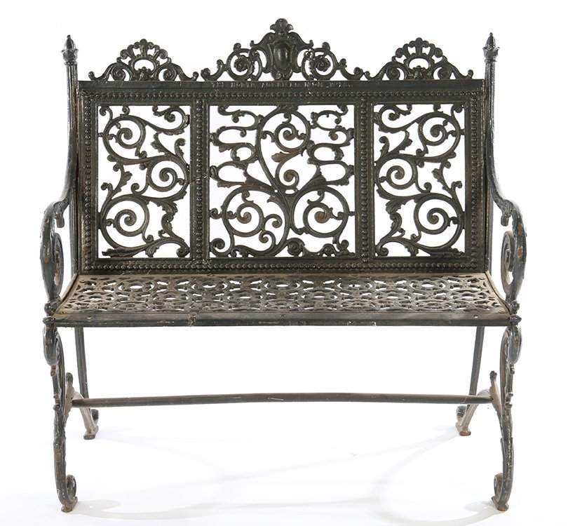 19TH CENT. AMERICAN CAST IRON BENCH LABELED - 2
