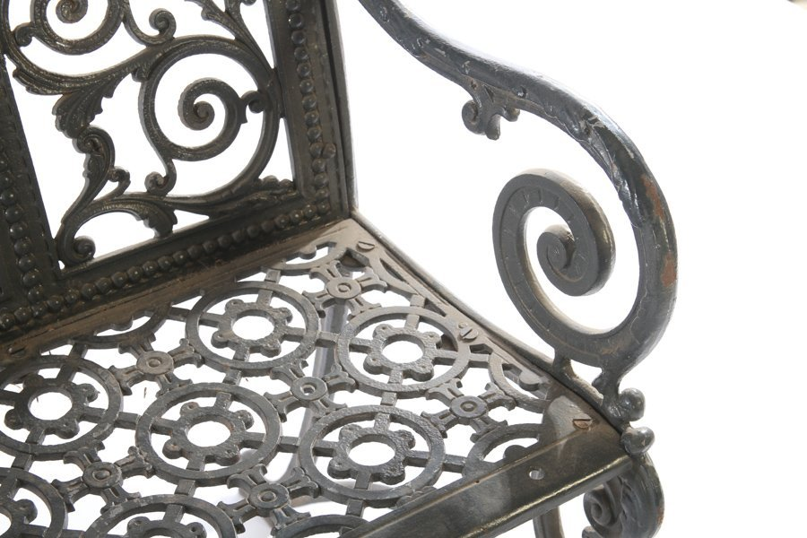 19TH CENT. AMERICAN CAST IRON BENCH LABELED - 4