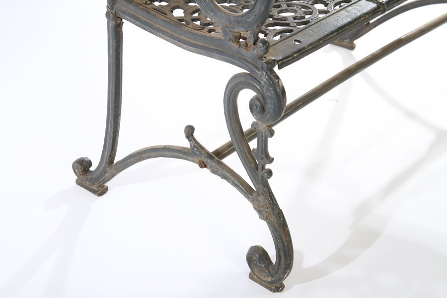19TH CENT. AMERICAN CAST IRON BENCH LABELED - 5