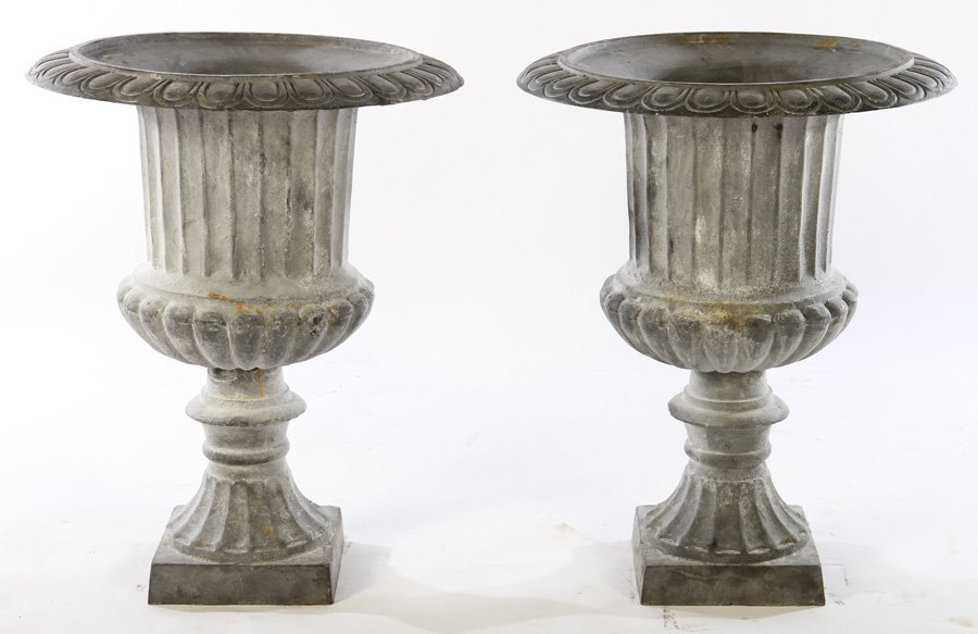 LARGE PAIR CAMPANA CAST IRON URNS FLUTED SIDES