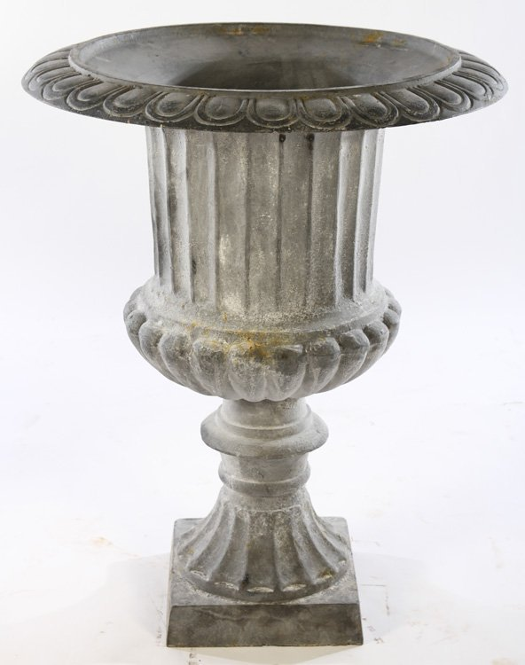 LARGE PAIR CAMPANA CAST IRON URNS FLUTED SIDES - 2
