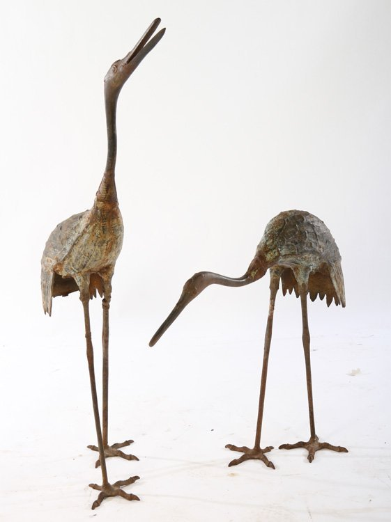 PAIR CAST IRON EGRET GARDEN ORNAMENTS