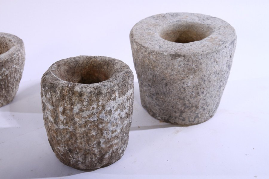 6 CARVED STONE MORTARS PLANTERS - 2