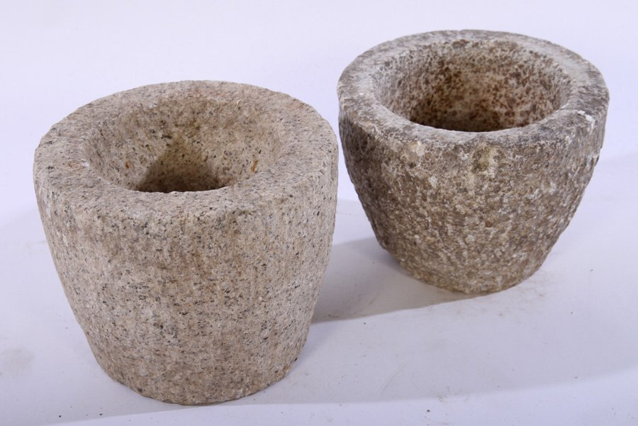 6 CARVED STONE MORTARS PLANTERS - 3