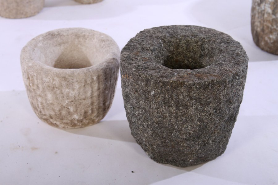 6 CARVED STONE MORTARS PLANTERS - 4