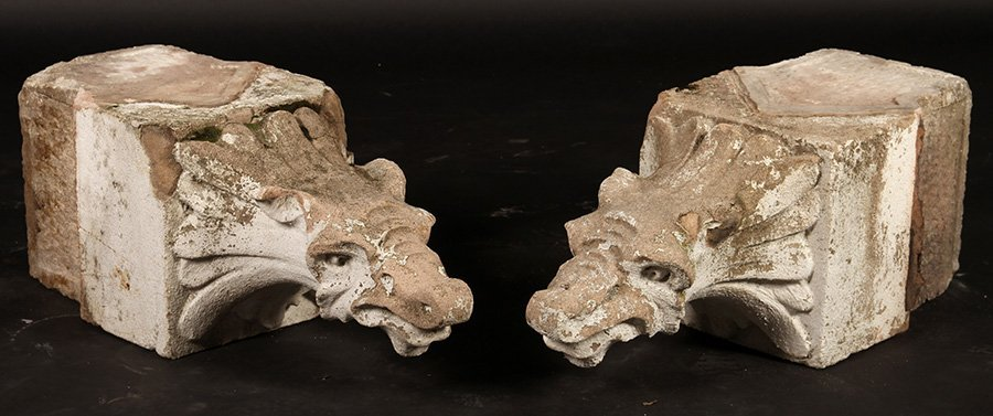 PAIR LATE 19TH CENT. CARVED STONE GARGOYLES