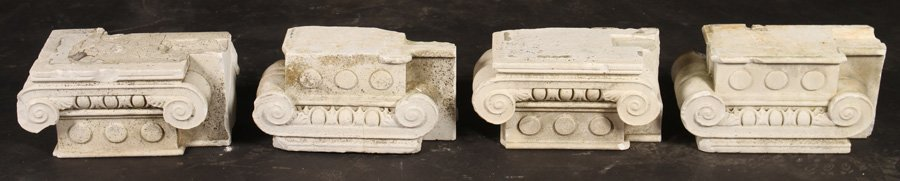 4 LATE 19TH CENT. CARVED MARBLE CAPITALS