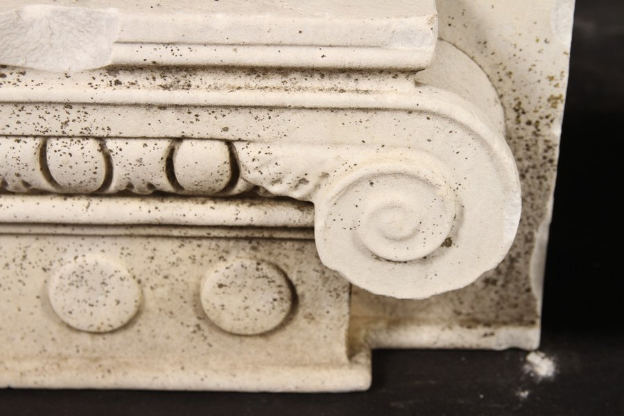 4 LATE 19TH CENT. CARVED MARBLE CAPITALS - 3
