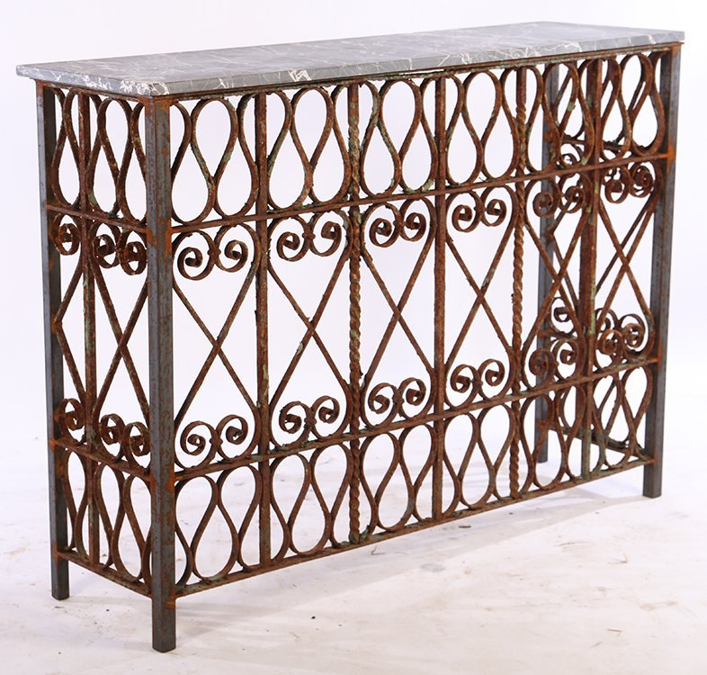 WROUGHT IRON MARBLE TOP CONSOLE C.1900 & LATER