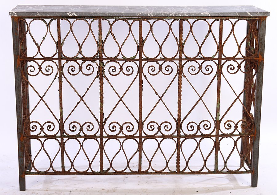 WROUGHT IRON MARBLE TOP CONSOLE C.1900 & LATER - 2