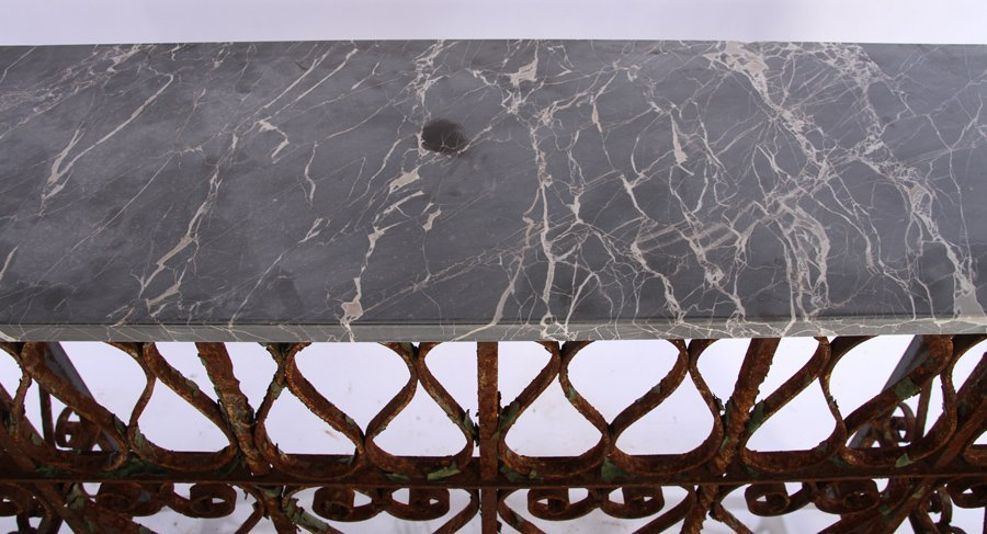 WROUGHT IRON MARBLE TOP CONSOLE C.1900 & LATER - 3