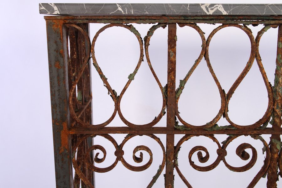 WROUGHT IRON MARBLE TOP CONSOLE C.1900 & LATER - 4