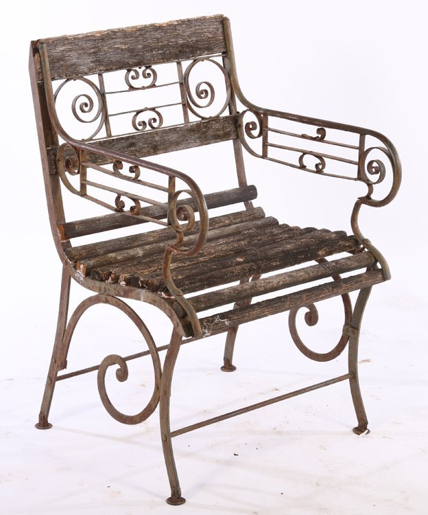 PAIR WROUGHT IRON GARDEN CHAIRS SLAT BACK - 2