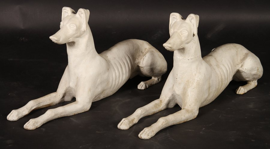PAIR AMERICAN CAST IRON WHIPPETS ATTR. FISKE 1900