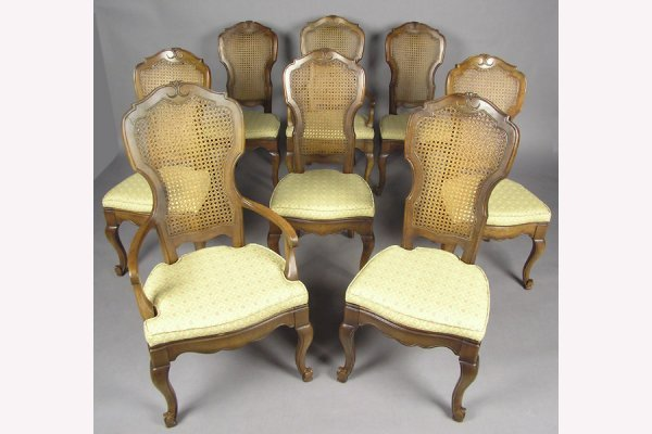 8 FRUITWOOD CANE BACK DINING ROOM CHAIRS CHAIR