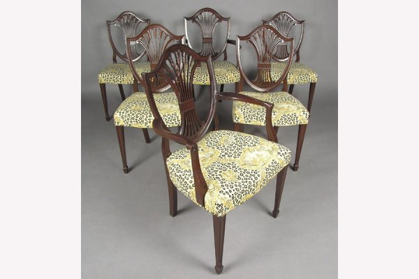 SIX SHIELD BACK SOLID MAHOGANY DINING CHAIRS CHAIR