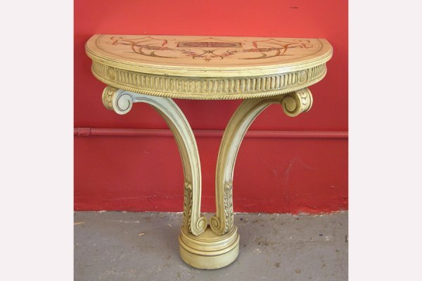 50141026: PAINT DECORATED ADAMS STYLE DEMILUNE CONSOLE