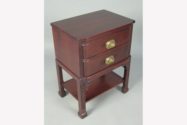50141027: SOLID MAHOGANY TWO DRAWER END TABLE SIGNED GE