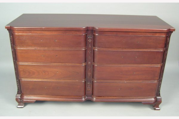 50141028: SOLID MAHOGANY EIGHT DRAWER DRESSER SIGNED GE