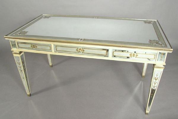 MIRRORED DESK CENTER TABLE IN THE MANNER OF JANSEN