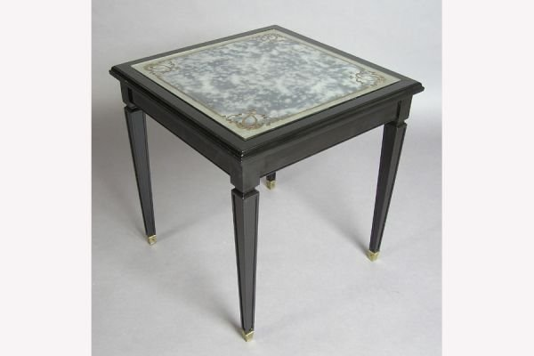 EBONIZED MIRRORED SIDE TABLE IN THE MANNER OF JANSEN C