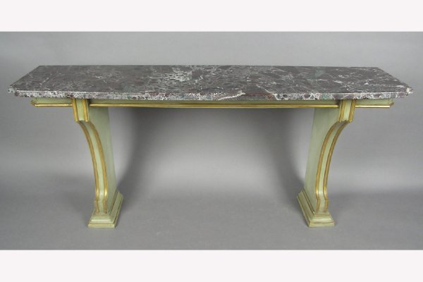 JANSEN MARBLE TOP PAINTED CONSOLE TABLE SERVER