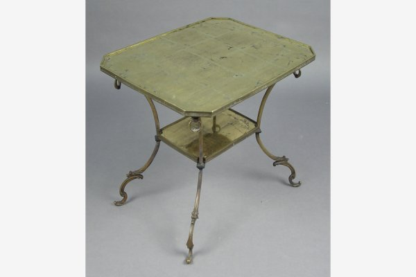 JANSEN BRONZE TWO-TIERED TABLE WITH GOLD FOIL GLASS TOP