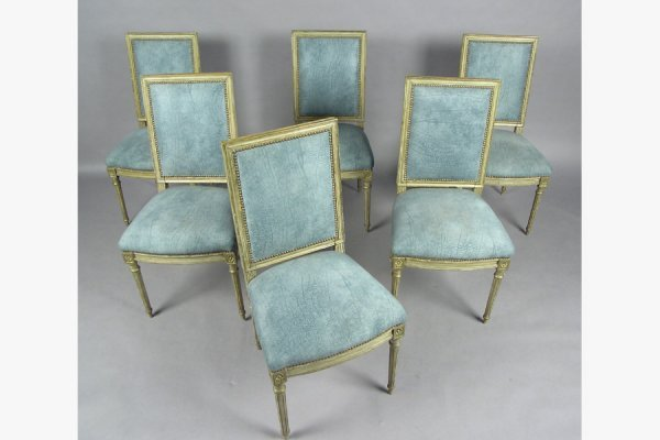SIX JANSEN LOUIS XVI STYLE DINING ROOM CHAIRS CHAIR