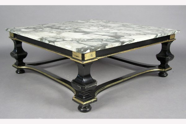 JANSEN EBONIZED SQUARE COFFEE TABLE WITH  MARBLE TOP