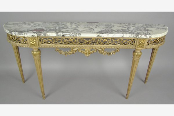 MARBLE TOP AND PAINTED CONSOLE TABLE SERVER SIDEBOARD