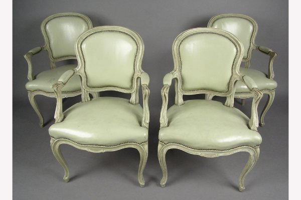 SET OF FOUR POLYCHROMED JANSEN ARMCHAIRS LOUIS XV STYLE