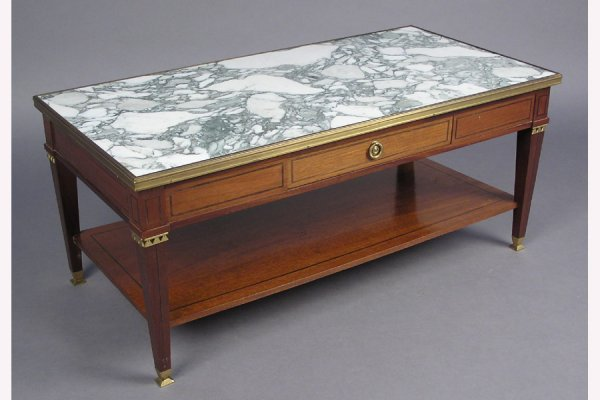 JANSEN MARBLE TOP AND BRONZE BOUND COFFEE TABLE