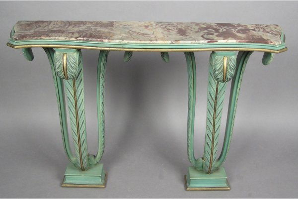 GILT AND POLYCHROMED JANSEN CONSOLE TABLE SWAN FORM
