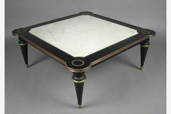 JANSEN MARBLE  BRONZE MOUNTED EBONIZED COFFEE TABLE