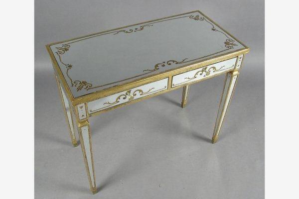 DECORATED MIRRORED CONSOLE WITH GOLD LEAF TRIM