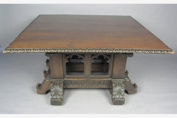 ROSE VALLEY attr. CARVED GOTHIC DINING ROOM TABLE 10'! - 2