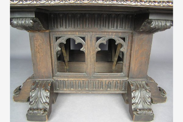 ROSE VALLEY attr. CARVED GOTHIC DINING ROOM TABLE 10'! - 4